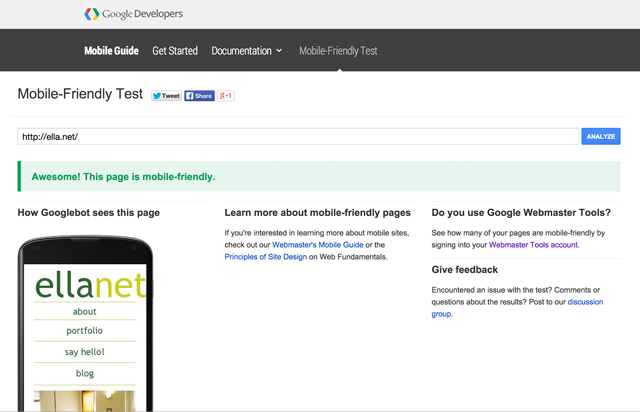Screenshot of Google's web-friendly test page